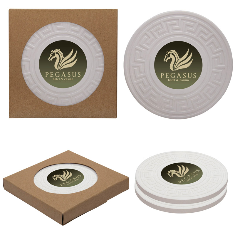 Round Greek Key Absorbent Stone Coaster Duo