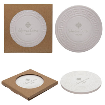 Round Greek Key Absorbent Stone Coaster