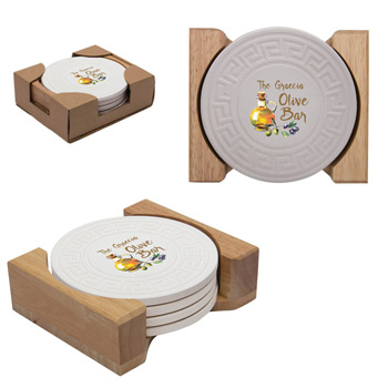 Round Greek Key Absorbent Stone Coaster Set