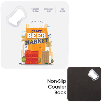 Square Bottle Opener Coaster